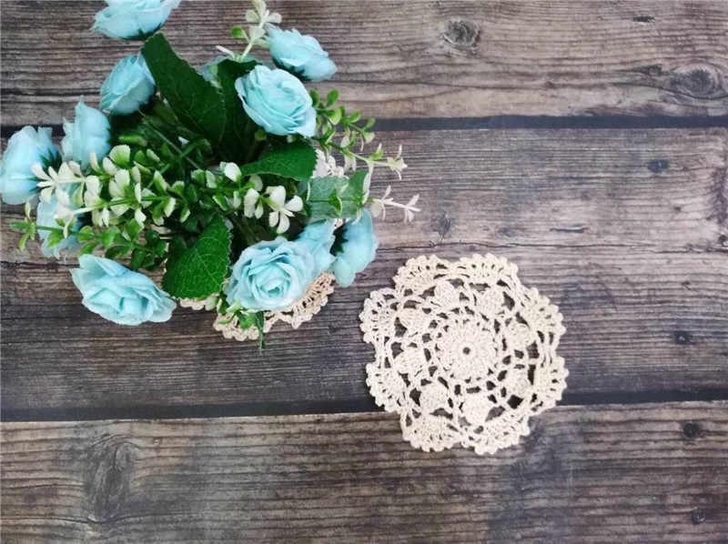 10cm Round Vintage Christmas Placemat Cotton Lace Crochet Doily