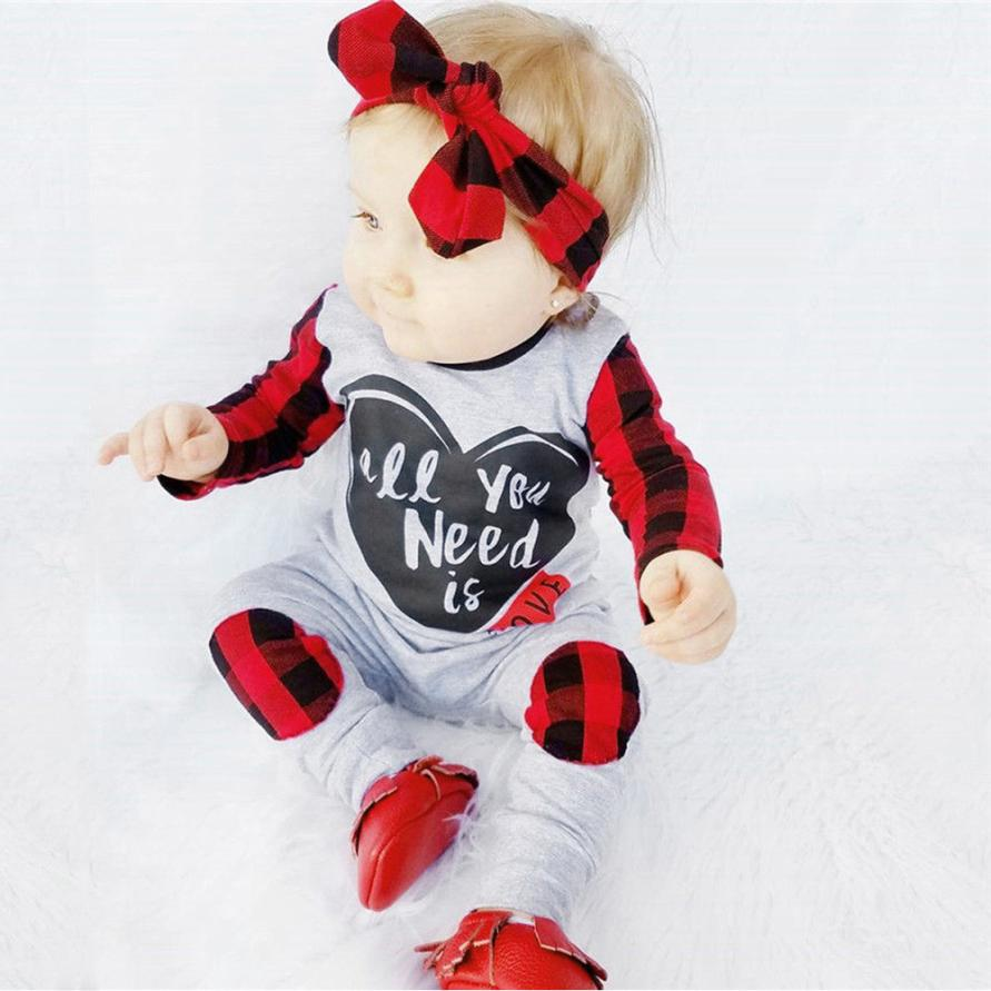 Fashion Baby Boy Girl Clothes Newborn Toddler Long-sleeved Letter print Plaid jumpsuit+1PC Headbands Infant Clothing set Outfits 2017 new adorable summer games infant newborn baby boy girl romper jumpsuit outfits clothes clothing