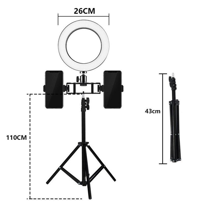 Tycipy Ring Light 26cm 12W Photo Studio Double Phone Clamp LED Selfie Ring Lamp Photographic Lighting