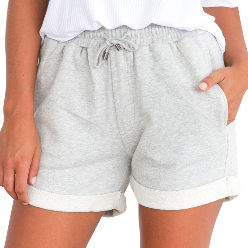 Summer Gray Black Shorts High Waist Drawstring Shorts Women Elastic Waist Shorts With Po ...
