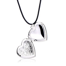 SUKI Photo Frame Memory Locket Necklace Silver Color Pendant Rope Chain Life of Tree Heart Necklace Jewelry Mother's Day Gift(China)
