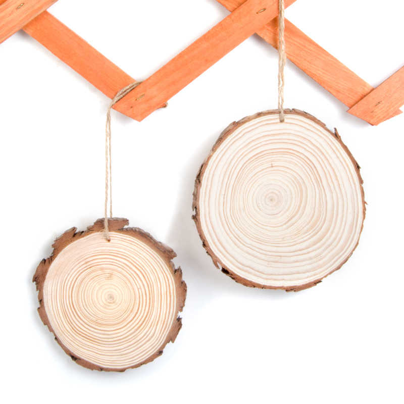 Unfinished Natural Round Wood Home Decorations Slices Circles with Tree Bark Log Discs for DIY Crafts Pure Wedding Party