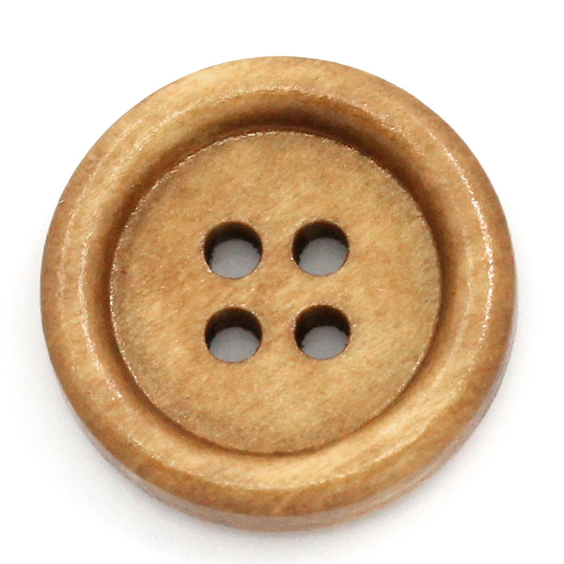 100Pcs DIY Light Brown Round Wood Sewing Buttons 4 Holes Wooden Scrapbook Ornaments Making 18mm Dia.( 6/8)