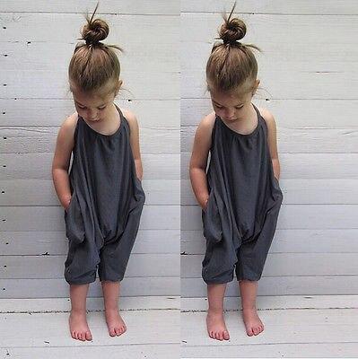 Малыш для маленьких девочек летние ремень сплошной комбинезон одежда из хлопка наряды