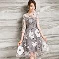 Blanco floral print organza three quarter dress gasa de la rodilla-longitud de la manga ropa de mujer vestido de fiesta de verano tt2330