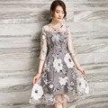 Branco floral imprimir organza three quarter sleeve chiffon do joelho-comprimento dress para festa de verão roupas femininas vestido tt2330