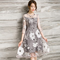 White Floral Print Organza Three Quarter Sleeve Chiffon Knee-length Dress For Party Summer Women Clothing Vestido TT2330