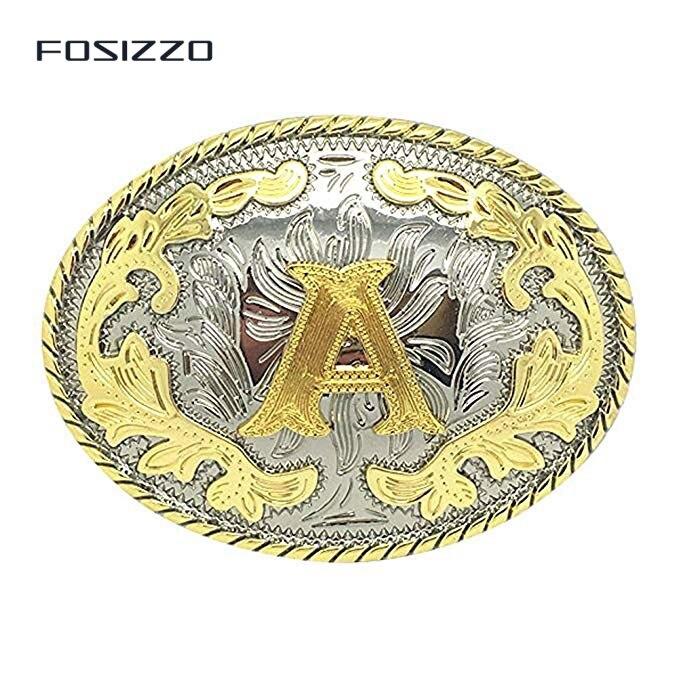 FOSIZZO Unisex Adult Alphabet Letter Western Style Cowboy Letter Belt Buckle For Men Fit Belt Strap 3.8-4CM (Letter A-Z)