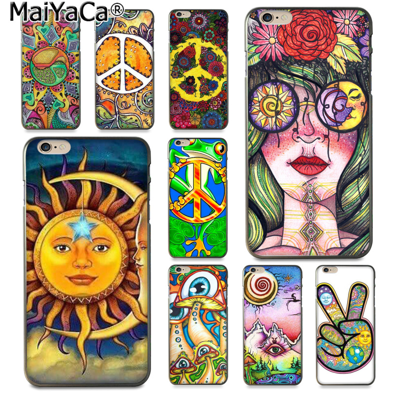 MaiYaCa Hippy Hippie Psychedelic Art Peace Cute Phone Accessories Case for Apple iphone 11 pro 8 7 66S Plus X 5S SE XS XR XS MAX