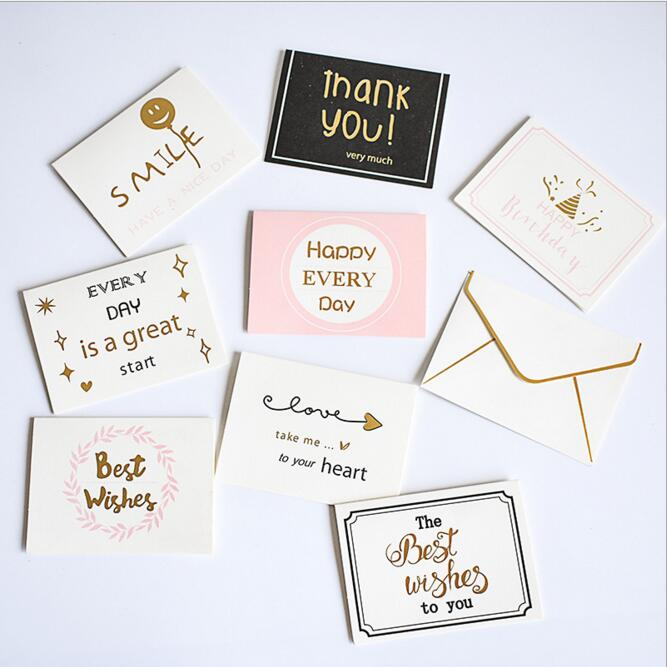 5pcs/Lot 2019 Vintage Fashion Envelope With Gift Card Graduation Birthday Postcard Greeting Cards Thank You Flower Card