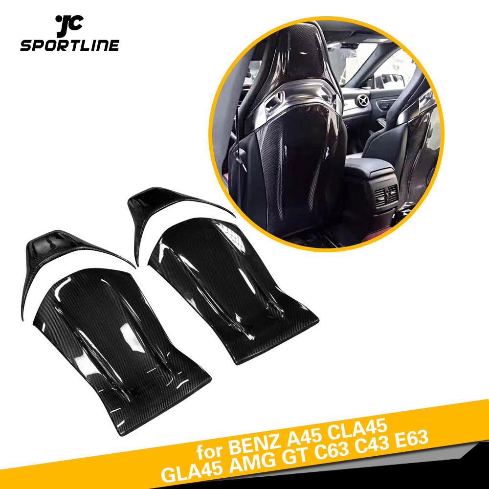 Carbon Fiber Seat Back Backseat Trim Covers 4PC/Set fit for Mercedes Benz A45 CLA45 GLA45 AMG GT C63 C43 E63 12-18 Gloss Matt for mercedes benz cla class w117 cla180 cla200 cla250 cla45 amg carbon fiber front lip splitter flap canard fits sporty car amg