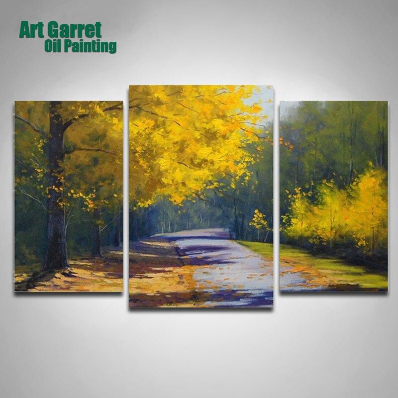 Handmade Three panels Landscape Oil Painting Canvas Art Cuadros ...