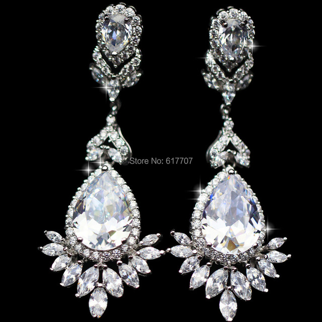 Mecresh Real Pictures Teardrop AAA Cubic Zirconia Bridal Long Dangle Earrings for Women Wedding Jewelry EH011