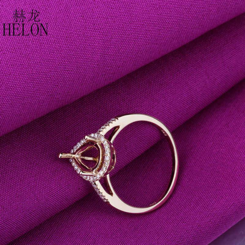 Rắn 10 K Yellow Gold Natural Diamonds Engagement Nhẫn Cưới của Phụ Nữ Ring Semi Mount Đồ Trang Sức Mỹ Vòng Thiết Pear Cut 10x6 mét