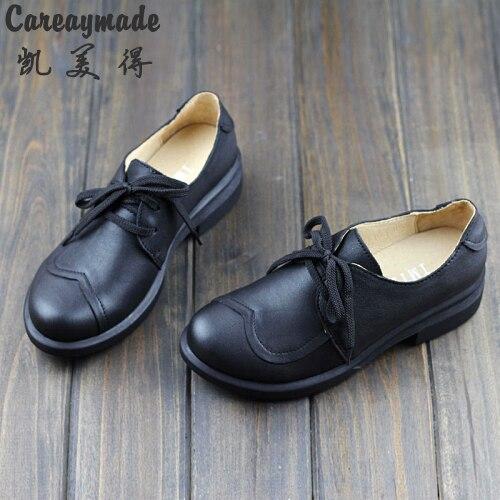 Careaymade-spring,Genuine leather shoes,Pure handmade flat shoes,Women the retro art mori girl shoes ,Women fashion Casual shoes huifengazurrcs new pure handmade casual