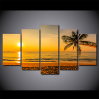 5 Panel Beach Sunset Palm Tree Canvas HD Printed Poster Frame Painting Modular Living Room Wall Art Paint Cuadros Decorativos