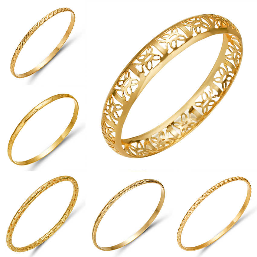 Rinhoo 20 Style Luxury Gold Color Ethiopian Bangles Women African Dubai Charm Bangles & Bracelet for Bride Wedding Jewelry Gift