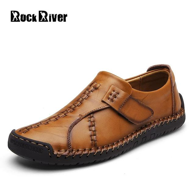 Kulit Asli Buatan Tangan Pria Lembut Flats Mewah Merek Pria Pantofel Slip-On  Sepatu Kasual 488301a3c2