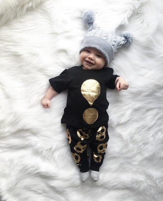 5f7daeca99a78 2019 mode bébé fille vêtements noir à manches courtes t-shirt + pantalon  nouveau-
