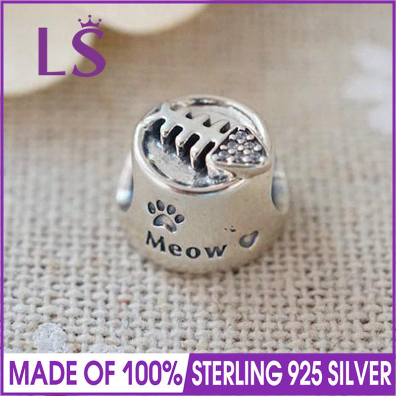 LS High Quality 100% Real S925 Silver Meow Food Dish Charm Beads Fit Original Bracelets Pulseira Encantos. 100% Fine Jewlery