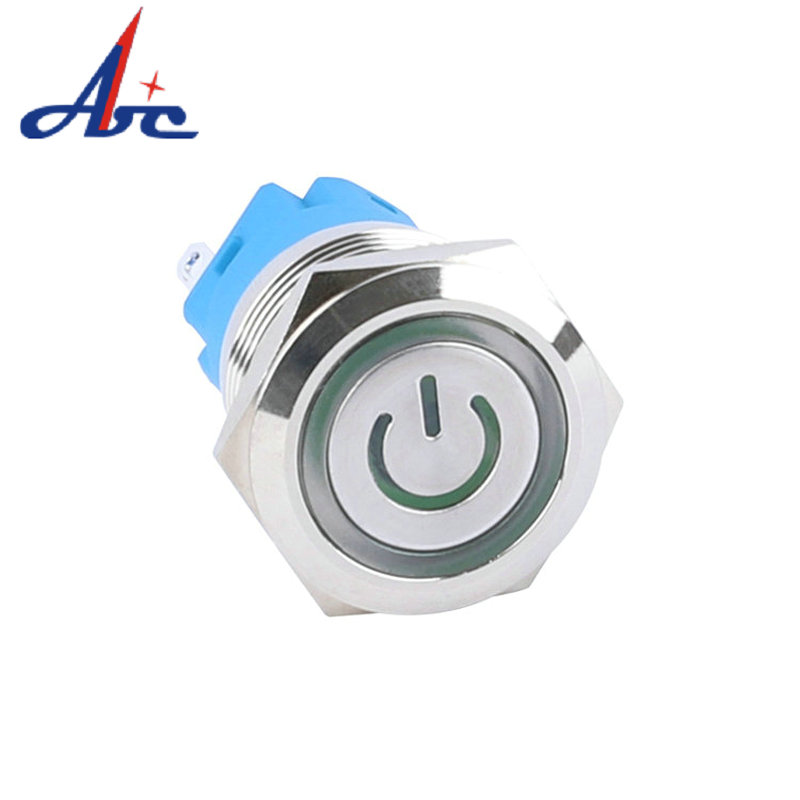 19mm Flat Head Ring LED Momentary ON OFF Power Logo Illuminated Button Switch