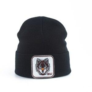 Image 1 - Neue Wolf Tier Beanie Männer Warme Gestrickte Winter Hüte Für Frauen Gorra Hip hop Skullies Motorhaube Unisex Kappe Dropshipping
