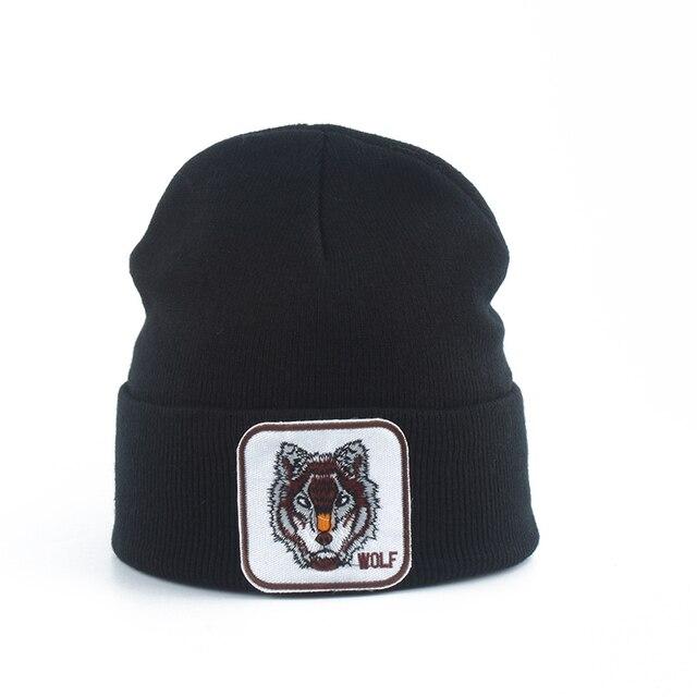 Neue Wolf Tier Beanie Männer Warme Gestrickte Winter Hüte Für Frauen Gorra Hip hop Skullies Motorhaube Unisex Kappe Dropshipping