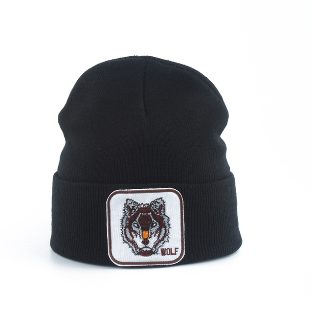 Yeni kurt hayvan bere erkekler sıcak örme kışlık şapkalar kadınlar için Gorra Hip hop Skullies Bonnet Unisex kap Dropshipping