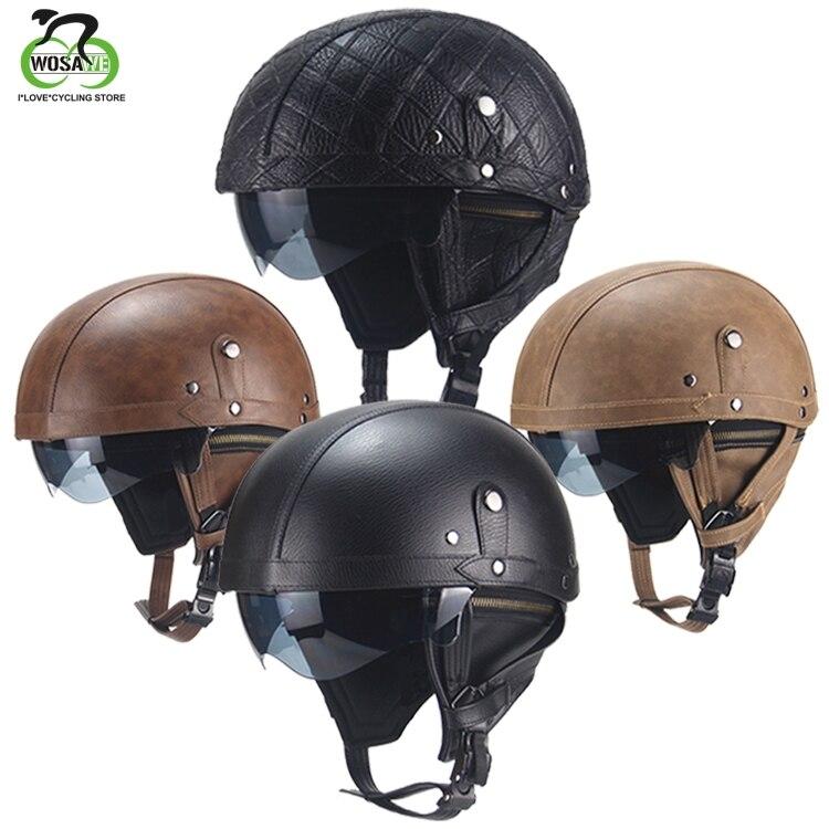 WOSAWE Road Bike Bicycle Helmet Retro Personality Half-helmet MTB Summer PU leather Motorcycle Cycling Men Women