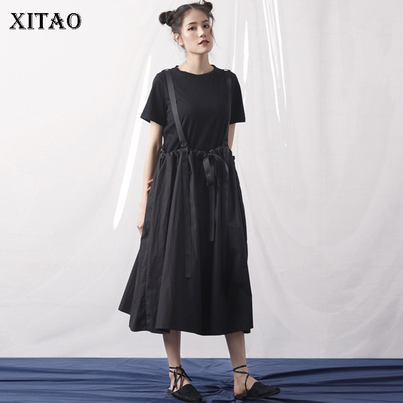 [XITAO] 2018 Summer Korea Fashion Women Solid Color O Neck Pullover Tops Female Loose Bandage Strapless Dress Twinset KZH691
