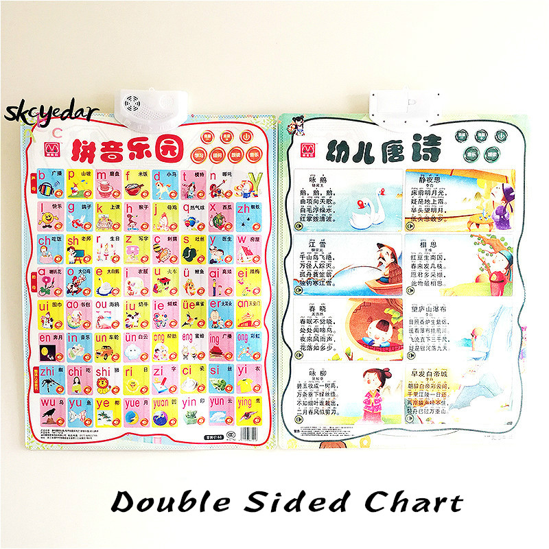 Audio Pinyin Learning Flip Chart (Double Sided) Early Education Wall Chart Study Chinese 16.5x22In Chinese Classroom Supplies