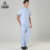 Oblique Collar Short Sleeve Men Nurse Doctor Scrub Set High Quality Hospital Durable Surgical Gowns Operation Clothes Tops Pants