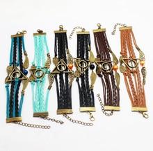 Hot Sale Harry potter bracelet Golden Snitch Slytherin School Bracelet Custom owls wings Charm Bracelets For Women & Men