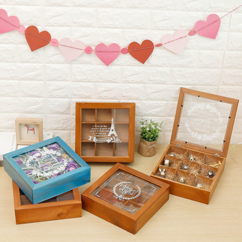 Home Decor Storage Boxes: Vintage Wooden Storage Box/9 Grid Storage Box Square