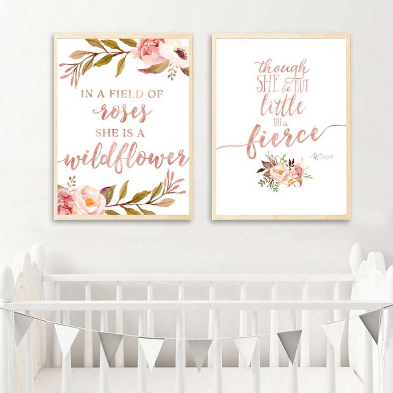 In A Field of Roses She Is A Wildflower Baby Girl Wall Art Flowers Print Watercolor Floral Art Painting Nursery Wild Child Decor