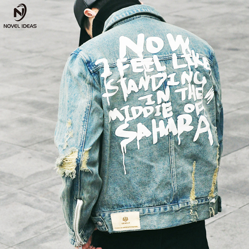 Novel ideas Jeans Jacket Men 2017 winter Streets DOODLE Long sleeve Hole Jeans Coat Men Street locomotive Hip Hop Jeans Jackets