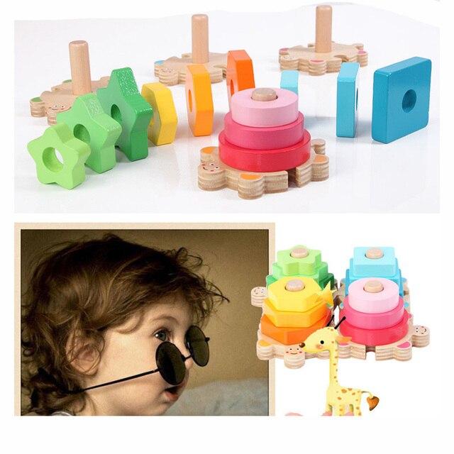 Baby Kids Rainbow Wooden 4 Column Blocks Sets Educational Geometric Shape Matching Toys for Children Animal