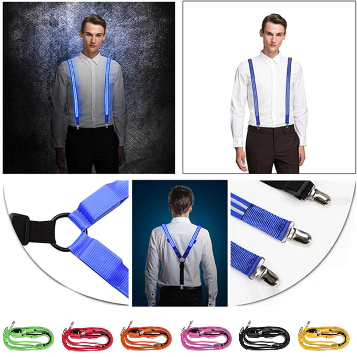 Printed LED Suspenders Unisex Flashing Trousers Male Suspenders  Outdoor Night Cycling Running Riding Multi Color Party Gift