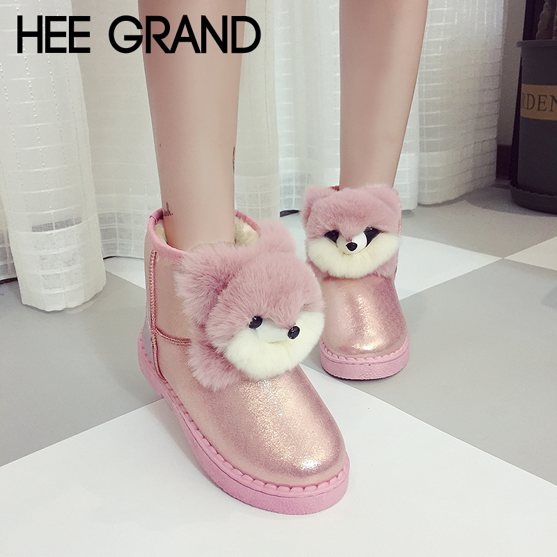 HEE GRAND Faux Fur Women Snow Boots Sweet Cute Style Ankle Boots Winter Warm Cartoon Shoes Women Suede Girls Snow Boots XWX6825 недорго, оригинальная цена