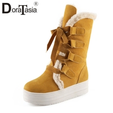 DoraTasia Women Winter Warm Fur Shoes Woman Lace Up Ladies Thick Platform Black Red Yellow Mid calf Snow Boots Large Size 34 43