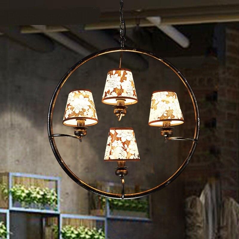 Rétro fer tissu motif pendentif lumières industriel vent restaurant bar hôtel nostalgie café étude maison éclairage lampe ZA GY278