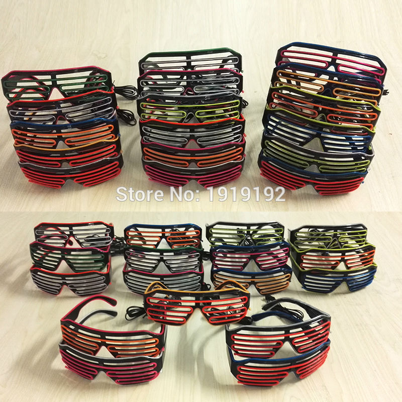 Double Colors Shutter Shape EL Glasses Party Supply Music Dance Bright Led Glasses With 3V Sound Active inverter