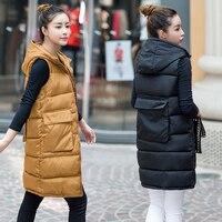 New Brand women vest Winter jacket Hooded Thicken Warm Long Casual Cotton Padded Waistcoat female Sleeveless waistcoat 0924-59