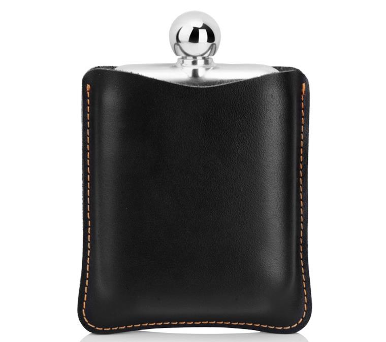 Garden Drinkware Drink Outdoor portable circular stainless steel hip flask with leather sheath