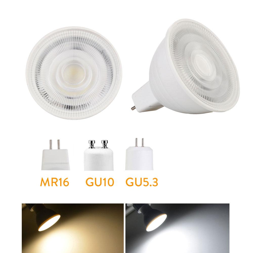LED Bulb Spotlight Dimmable GU10 MR16 5W COB Chip Beam Angle 24 Degree Chandelier LED Lamp For Downlight Table Light 110v 220V