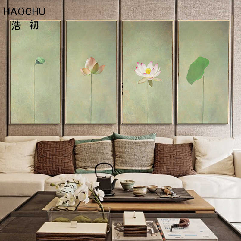 HAOCHU Chinese Style Small Fresh Lotus Lotus Leaf Decorative Canvas Painting Murals Living Room Flower Sofa Wall Artwork Poster