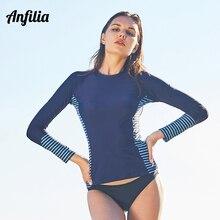 Anfilia, женские рубашки Рашгард с длинным рукавом, Рашгард, топ, купальник, рубашка для дайвинга, топ для серфинга, рубашка для бега, купальник, UPF 50