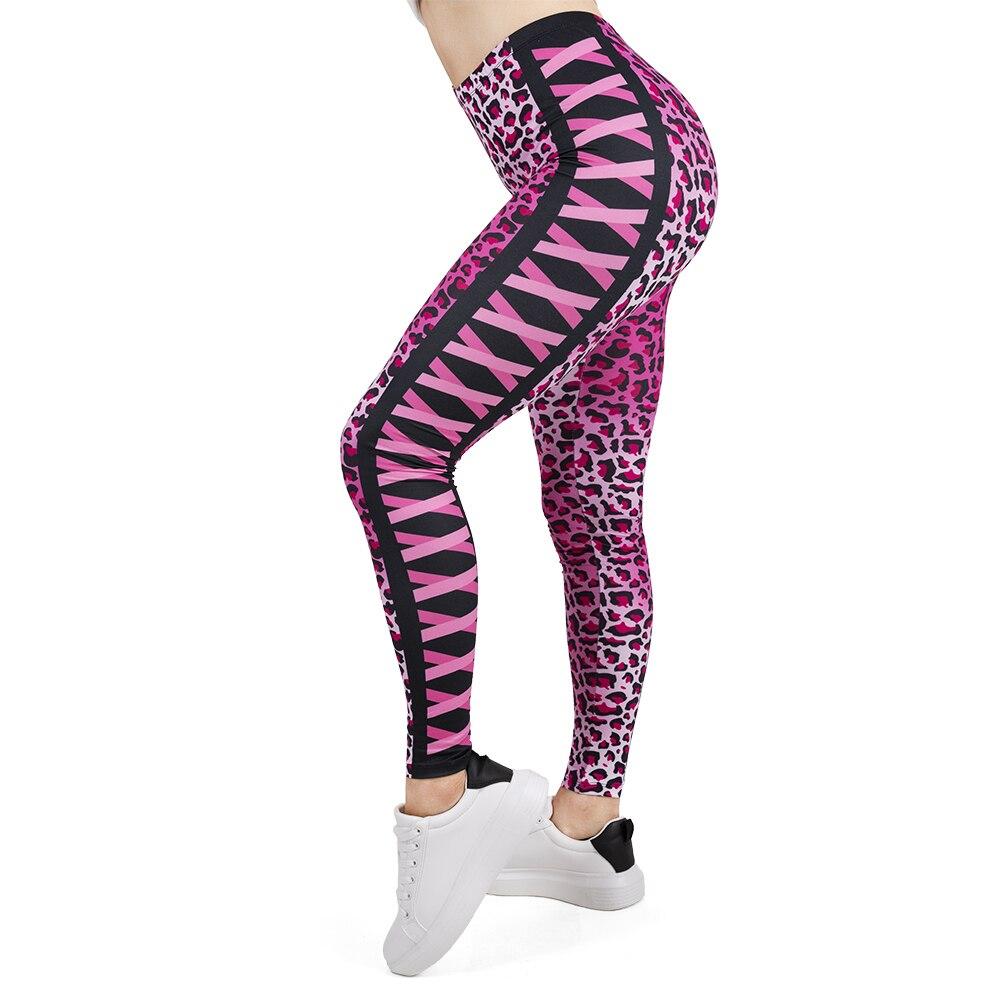 Women Legging Pink Leopard Printing Leggins Slim High Elasticity Legins Popular Fitness Leggings Female Pants