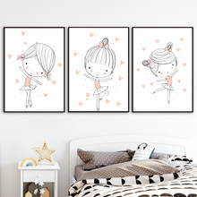 Cartoon Girl Ballet Dancer Heart Wall Art Canvas Painting Nordic Posters And Prints Pictures For Kids Room Decor