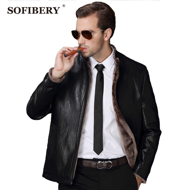 SOFIBERY 2016 winter clothes for male PU leather jacket leather jacket male taxi thick velvet jacket coat large size 3XL 6035